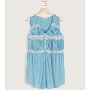 PENNINGTONS | 2X | Blue Smocked Sleeveless Tunic